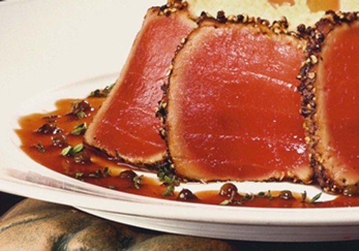 Seared Ahi with Mushroom Risotto