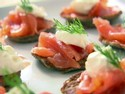 Smoked Salmon with Creme Fraiche on Blinis